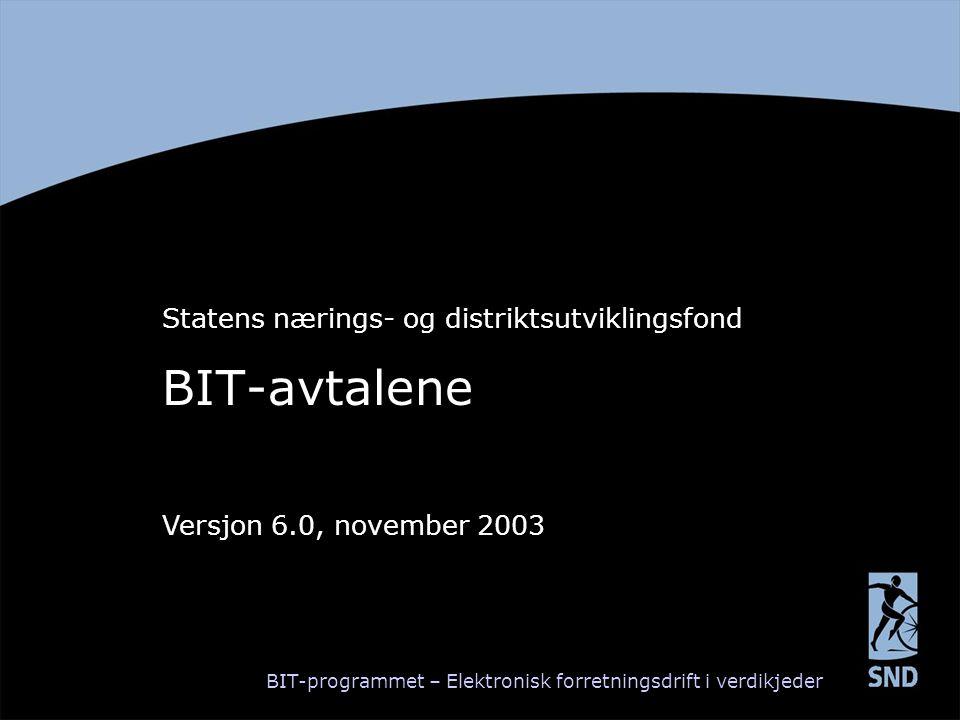 BIT-avtalene Statens nærings- og distriktsutviklingsfond Versjon 6.0, november 2003 BIT-programmet – Elektronisk forretningsdrift i verdikjeder