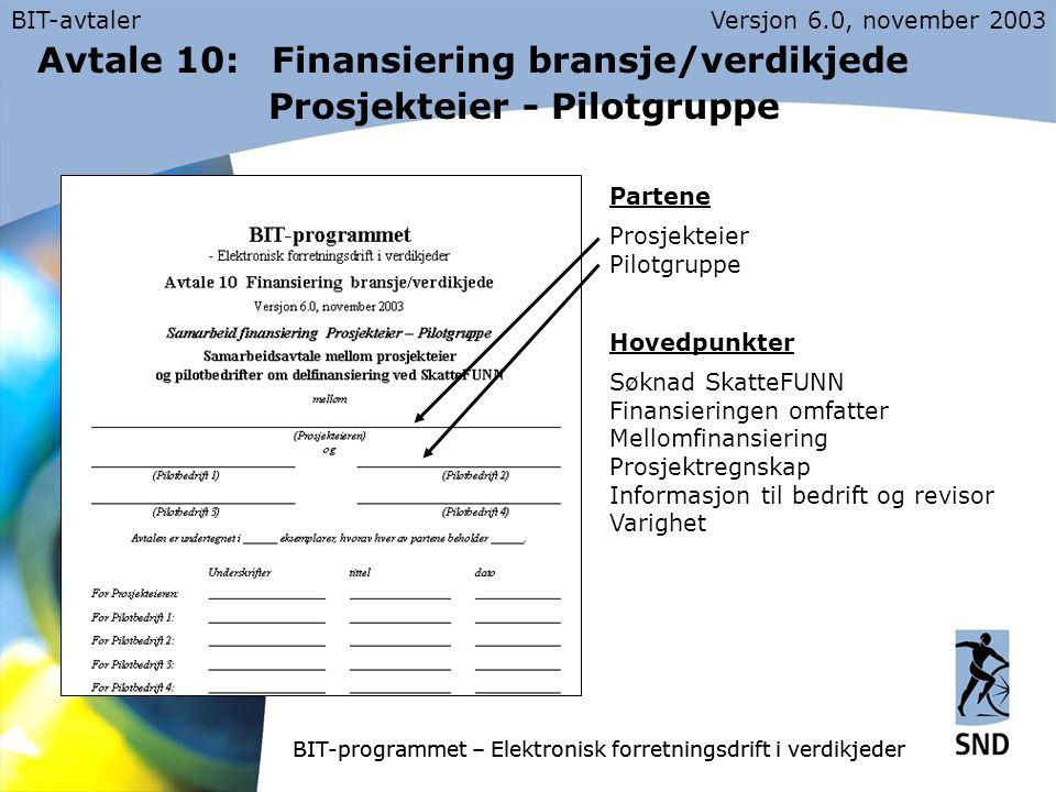 BIT-avtalerVersjon 6.0, november 2003 BIT-programmet – Elektronisk forretningsdrift i verdikjeder Avtale 10: Finansiering bransje/verdikjede Prosjekteier - Pilotgruppe Partene Prosjekteier Pilotgruppe Hovedpunkter Søknad SkatteFUNN Finansieringen omfatter Mellomfinansiering Prosjektregnskap Informasjon til bedrift og revisor Varighet BIT-programmet – Elektronisk forretningsdrift i verdikjeder