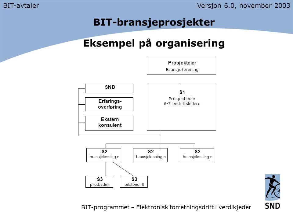 BIT-bransjeprosjekter Eksempel på organisering BIT-avtalerVersjon 6.0, november 2003 BIT-programmet – Elektronisk forretningsdrift i verdikjeder S2 bransjeløsning n Prosjekteier Bransjeforening S1 Prosjektleder 6-7 bedriftsledere SND Erfarings- overføring Ekstern konsulent S3 pilotbedrift