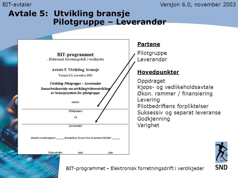 BIT-avtalerVersjon 6.0, november 2003 Avtale 5: Utvikling bransje Pilotgruppe – Leverandør Partene Pilotgruppe Leverandør Hovedpunkter Oppdraget Kjøps- og vedlikeholdsavtale Økon.