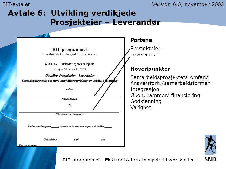 BIT-avtalerVersjon 6.0, november 2003 Avtale 6: Utvikling verdikjede Prosjekteier – Leverandør Partene Prosjekteier Leverandør Hovedpunkter Samarbeidsprosjektets omfang Ansvarsforh./samarbeidsformer Integrasjon Økon.