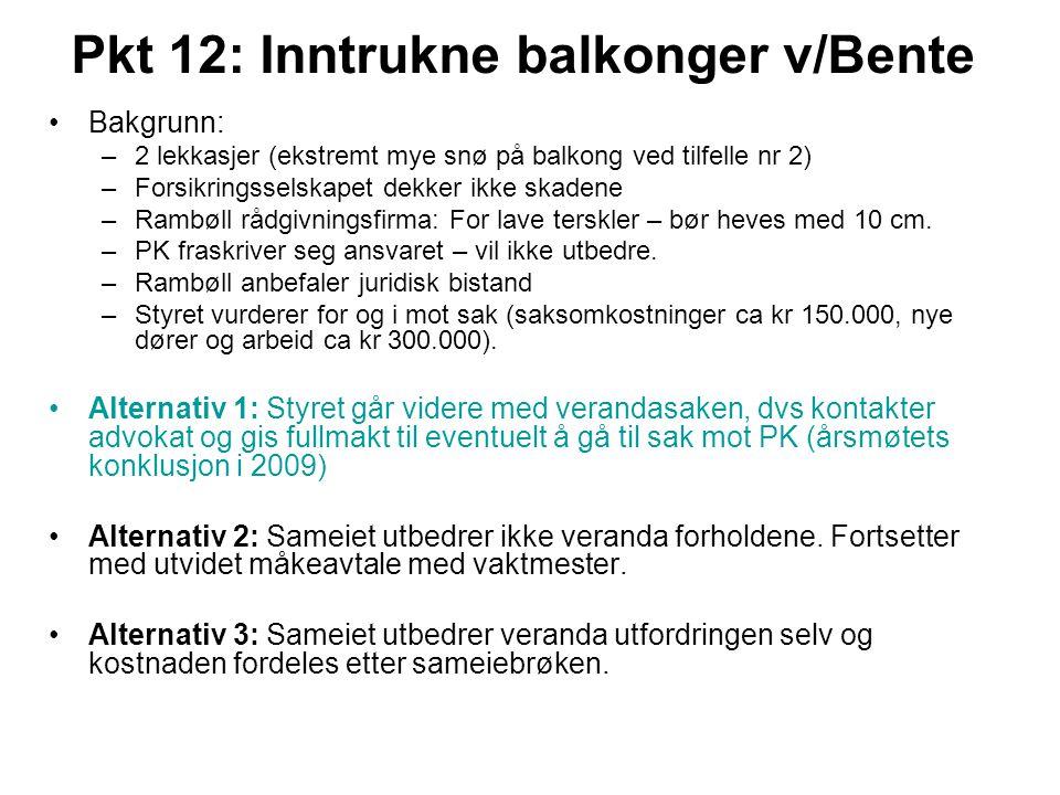 Pkt 12: Inntrukne balkonger v/Bente •Bakgrunn: –2 lekkasjer (ekstremt mye snø på balkong ved tilfelle nr 2) –Forsikringsselskapet dekker ikke skadene