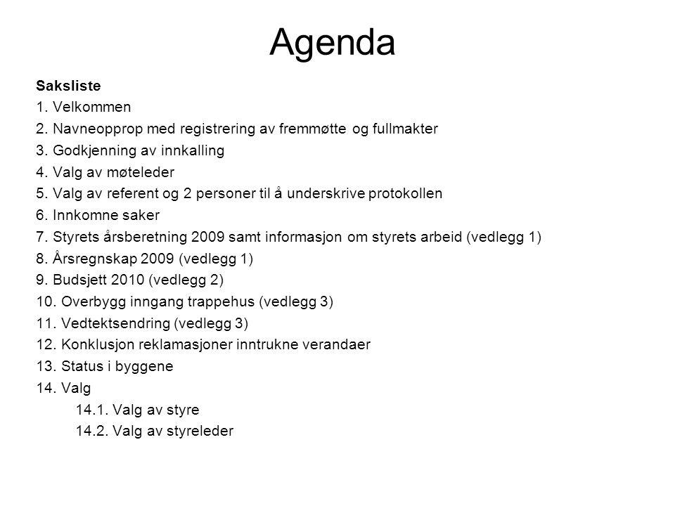 Agenda Saksliste 1. Velkommen 2. Navneopprop med registrering av fremmøtte og fullmakter 3. Godkjenning av innkalling 4. Valg av møteleder 5. Valg av