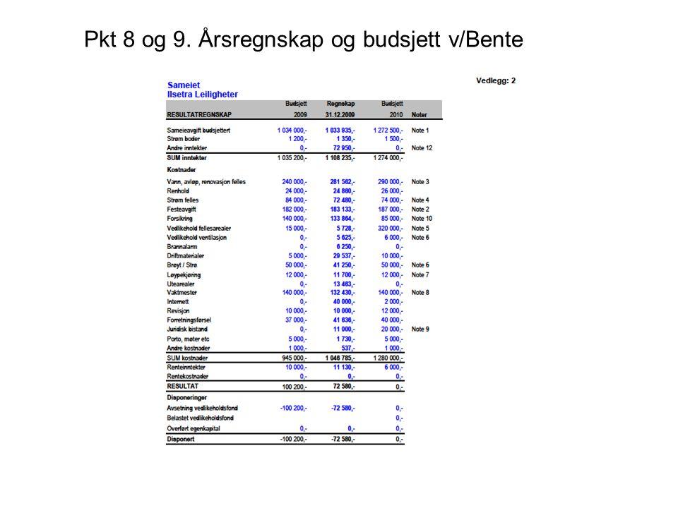 Pkt 8 og 9. Årsregnskap og budsjett v/Bente