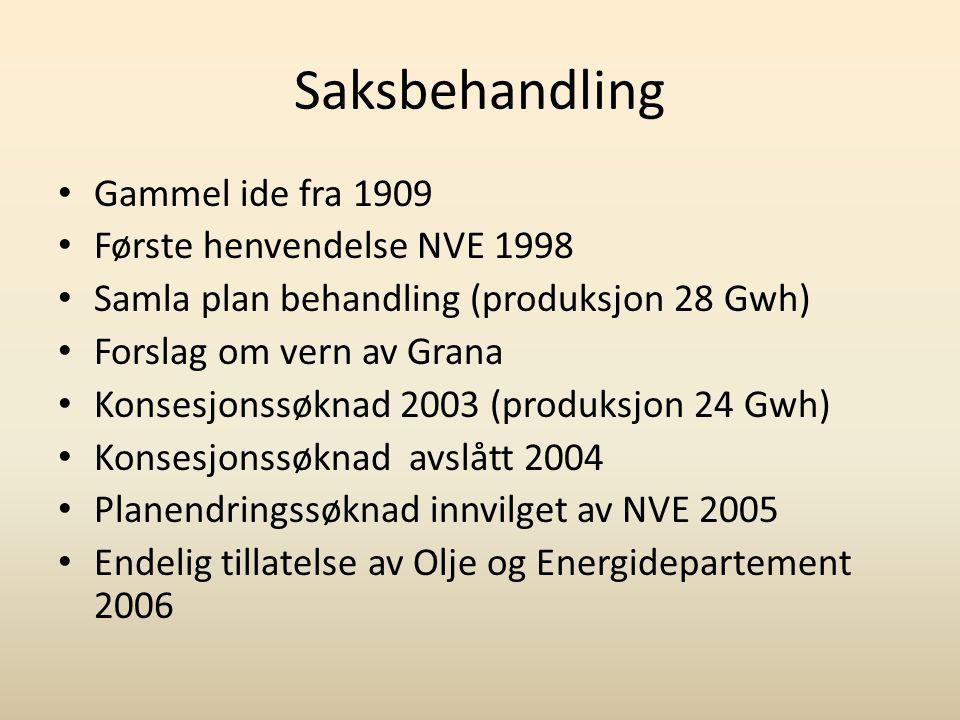 Saksbehandling • Gammel ide fra 1909 • Første henvendelse NVE 1998 • Samla plan behandling (produksjon 28 Gwh) • Forslag om vern av Grana • Konsesjons