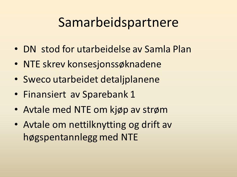 Samarbeidspartnere • DN stod for utarbeidelse av Samla Plan • NTE skrev konsesjonssøknadene • Sweco utarbeidet detaljplanene • Finansiert av Sparebank 1 • Avtale med NTE om kjøp av strøm • Avtale om nettilknytting og drift av høgspentannlegg med NTE