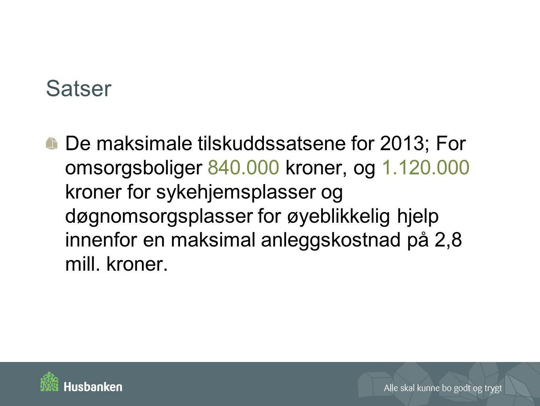 Satser De maksimale tilskuddssatsene for 2013; For omsorgsboliger 840.000 kroner, og 1.120.000 kroner for sykehjemsplasser og døgnomsorgsplasser for ø