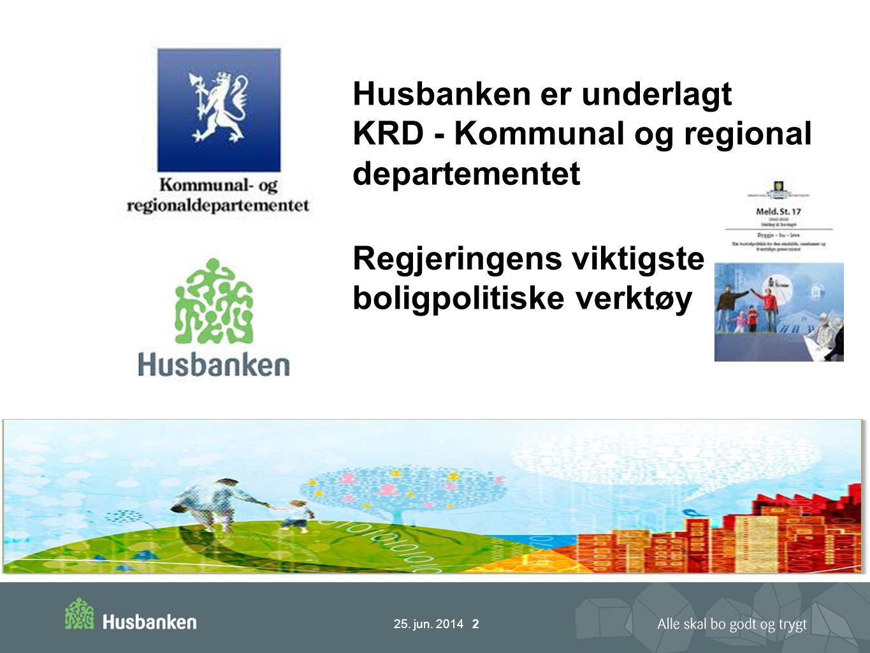 25. jun. 2014 2 Husbanken er underlagt KRD - Kommunal og regional departementet Regjeringens viktigste boligpolitiske verktøy