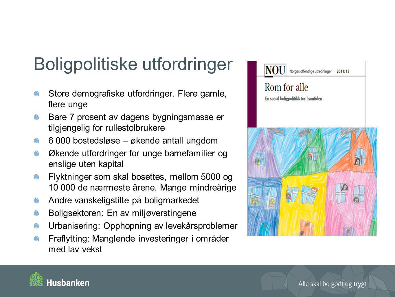 Boligpolitiske utfordringer Store demografiske utfordringer. Flere gamle, flere unge Bare 7 prosent av dagens bygningsmasse er tilgjengelig for rulles