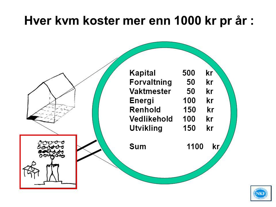 Hver kvm koster mer enn 1000 kr pr år : Kapital 500 kr Forvaltning 50 kr Vaktmester 50 kr Energi 100 kr Renhold 150 kr Vedlikehold 100 kr Utvikling 15