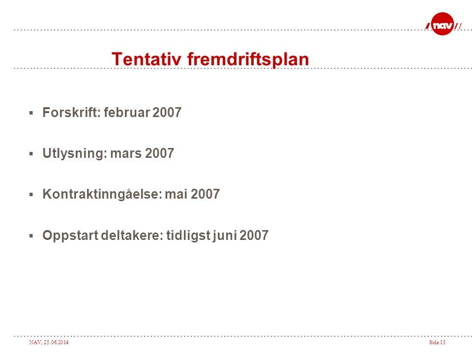 NAV, 25.06.2014Side 13 Tentativ fremdriftsplan  Forskrift: februar 2007  Utlysning: mars 2007  Kontraktinngåelse: mai 2007  Oppstart deltakere: ti