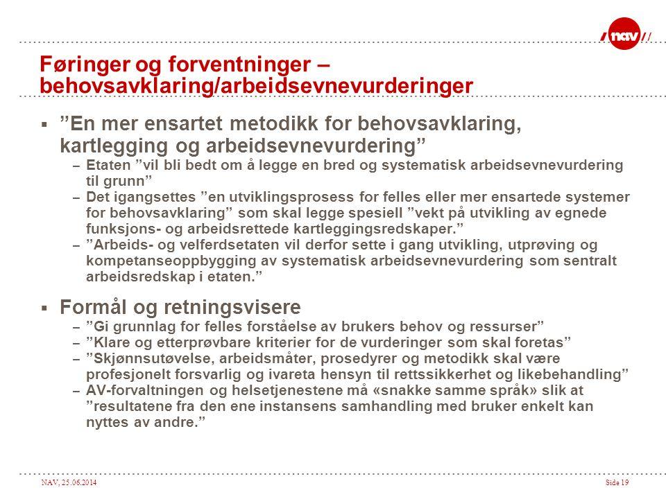 """NAV, 25.06.2014Side 19 Føringer og forventninger – behovsavklaring/arbeidsevnevurderinger  """"En mer ensartet metodikk for behovsavklaring, kartlegging"""