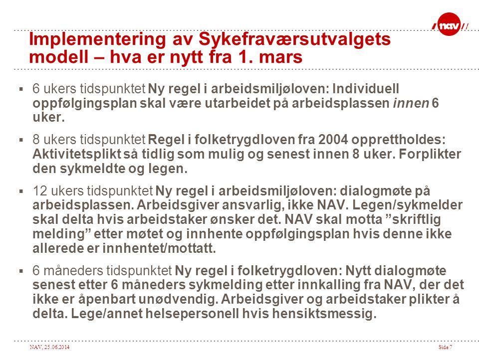 NAV, 25.06.2014Side 7 Implementering av Sykefraværsutvalgets modell – hva er nytt fra 1. mars  6 ukers tidspunktet Ny regel i arbeidsmiljøloven: Indi