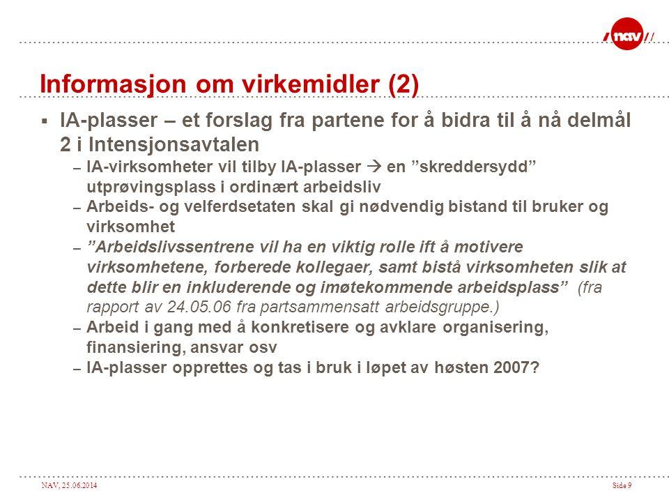 NAV, 25.06.2014Side 9 Informasjon om virkemidler (2)  IA-plasser – et forslag fra partene for å bidra til å nå delmål 2 i Intensjonsavtalen – IA-virk