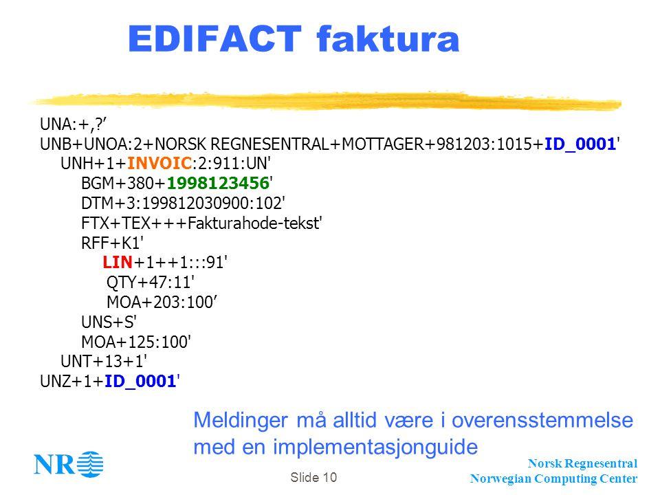 Norsk Regnesentral Norwegian Computing Center Slide 10 EDIFACT faktura UNA:+,?' UNB+UNOA:2+NORSK REGNESENTRAL+MOTTAGER+981203:1015+ID_0001' UNH+1+INVO
