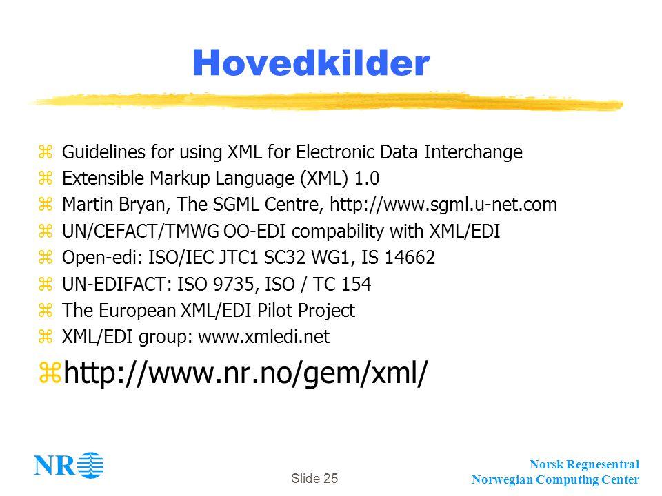 Norsk Regnesentral Norwegian Computing Center Slide 25 Hovedkilder zGuidelines for using XML for Electronic Data Interchange zExtensible Markup Langua