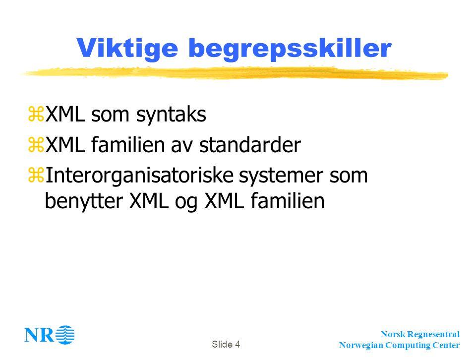 Norsk Regnesentral Norwegian Computing Center Slide 4 Viktige begrepsskiller zXML som syntaks zXML familien av standarder zInterorganisatoriske system
