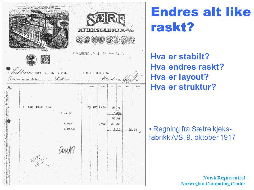 Norsk Regnesentral Norwegian Computing Center Slide 9 Endres alt like raskt? • Regning fra Sætre kjeks- fabrikk A/S, 9. oktober 1917 Hva er stabilt? H