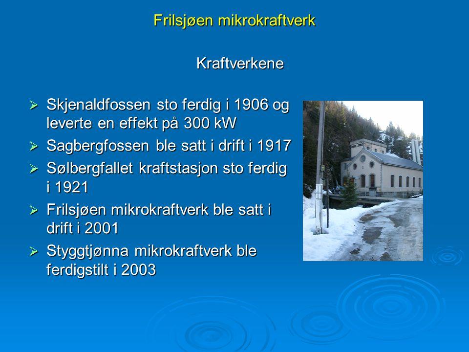 Frilsjøen mikrokraftverk  Skjenaldfossen sto ferdig i 1906 og leverte en effekt på 300 kW  Sagbergfossen ble satt i drift i 1917  Sølbergfallet kra