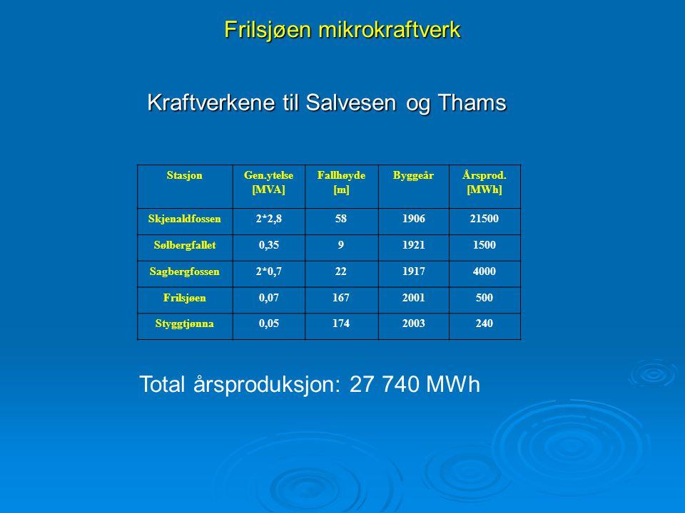 Frilsjøen mikrokraftverk Kraftverkene til Salvesen og Thams StasjonGen.ytelse [MVA] Fallhøyde [m] ByggeårÅrsprod. [MWh] Skjenaldfossen2*2,858190621500