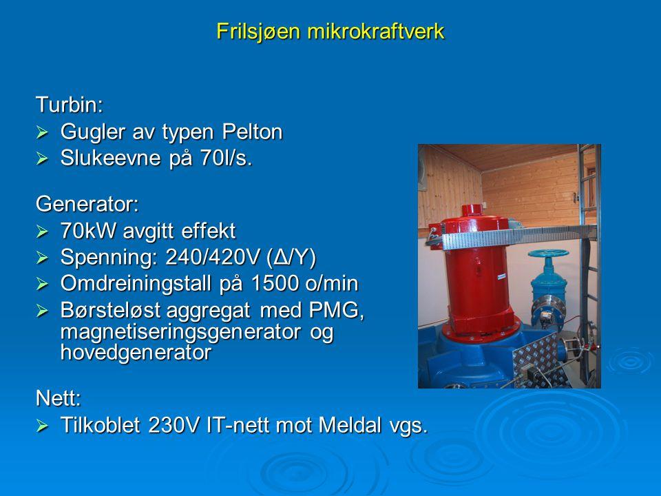 Frilsjøen mikrokraftverk Turbin:  Gugler av typen Pelton  Slukeevne på 70l/s. Generator:  70kW avgitt effekt  Spenning: 240/420V (Δ/Y)  Omdreinin