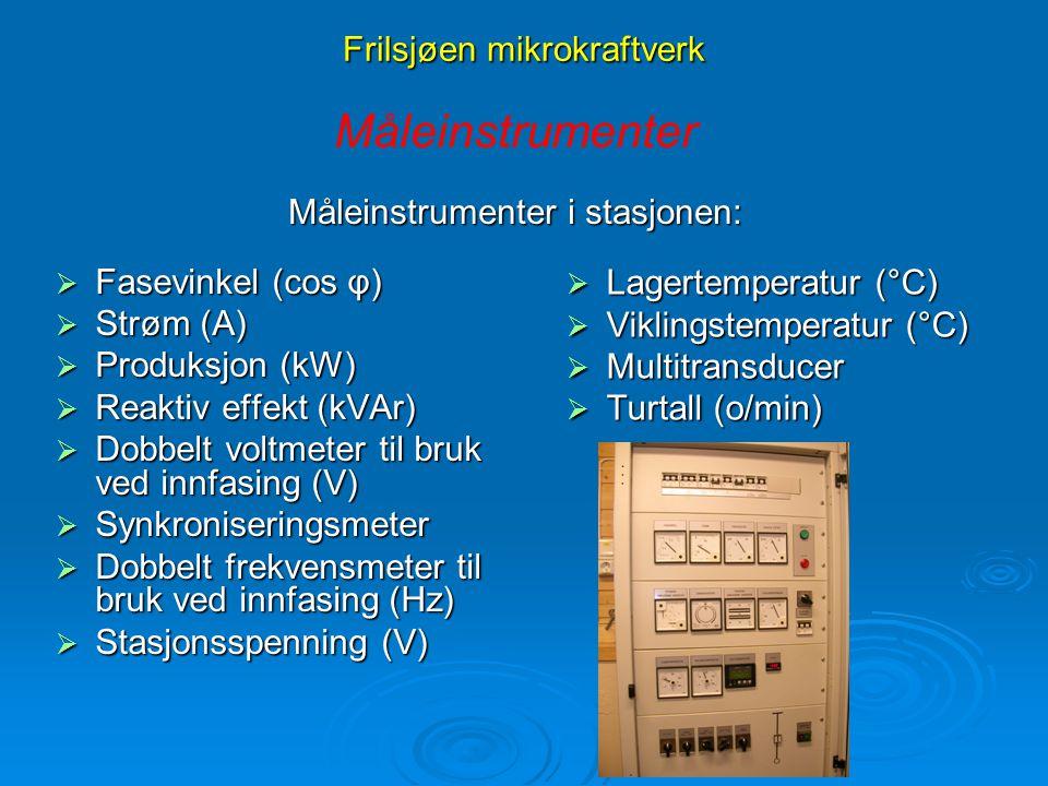 Frilsjøen mikrokraftverk  Fasevinkel (cos φ)  Strøm (A)  Produksjon (kW)  Reaktiv effekt (kVAr)  Dobbelt voltmeter til bruk ved innfasing (V)  S