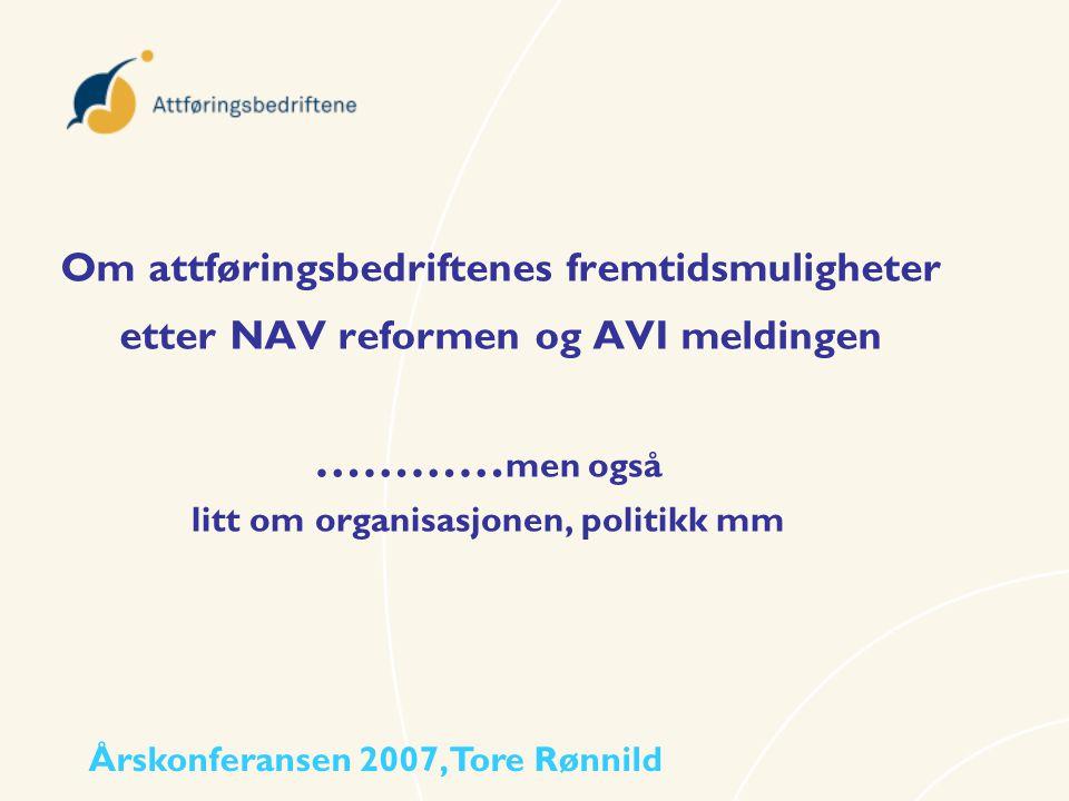 Om attføringsbedriftenes fremtidsmuligheter etter NAV reformen og AVI meldingen ………… men også litt om organisasjonen, politikk mm Årskonferansen 2007,
