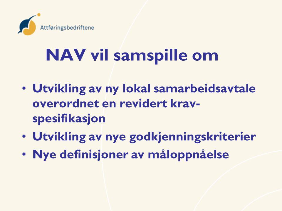 NAV vil samspille om •Utvikling av ny lokal samarbeidsavtale overordnet en revidert krav- spesifikasjon •Utvikling av nye godkjenningskriterier •Nye d