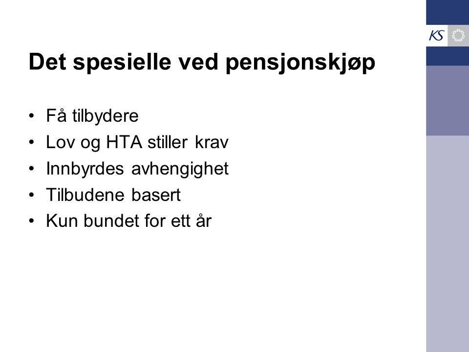 Det spesielle ved pensjonskjøp •Få tilbydere •Lov og HTA stiller krav •Innbyrdes avhengighet •Tilbudene basert •Kun bundet for ett år