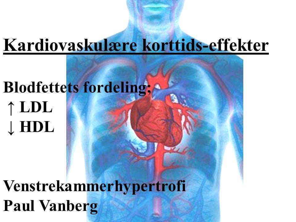 Kardiovaskulære korttids-effekter Blodfettets fordeling; ↑ LDL ↓ HDL Venstrekammerhypertrofi Paul Vanberg