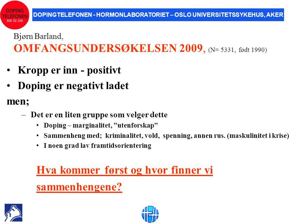 DOPINGTELEFONEN - HORMONLABORATORIET – OSLO UNIVERSITETSSYKEHUS, AKER Bjørn Barland, OMFANGSUNDERSØKELSEN 2009, (N= 5331, født 1990) •Kropp er inn - p