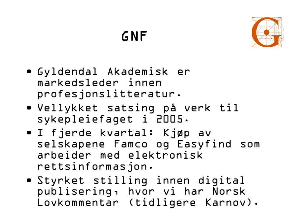 GNF •Gyldendal Akademisk er markedsleder innen profesjonslitteratur. •Vellykket satsing på verk til sykepleiefaget i 2005. •I fjerde kvartal: Kjøp av