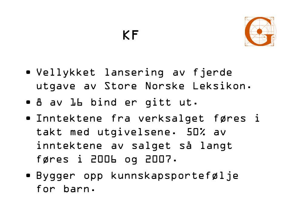KF •Vellykket lansering av fjerde utgave av Store Norske Leksikon. •8 av 16 bind er gitt ut. •Inntektene fra verksalget føres i takt med utgivelsene.