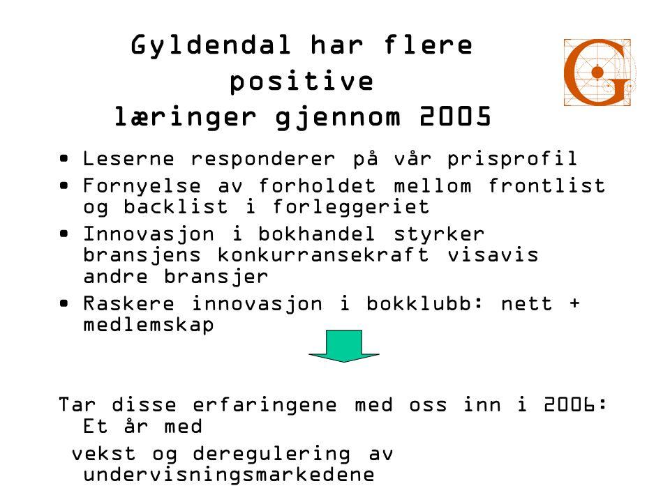 Gyldendal har flere positive læringer gjennom 2005 •Leserne responderer på vår prisprofil •Fornyelse av forholdet mellom frontlist og backlist i forle