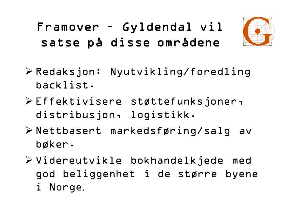 Framover – Gyldendal vil satse på disse områdene  Redaksjon: Nyutvikling/foredling backlist.  Effektivisere støttefunksjoner, distribusjon, logistik