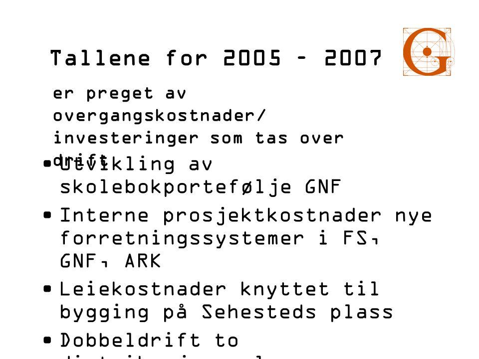 Tallene for 2005 – 2007 •Utvikling av skolebokportefølje GNF •Interne prosjektkostnader nye forretningssystemer i FS, GNF, ARK •Leiekostnader knyttet