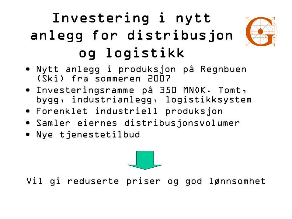Investering i nytt anlegg for distribusjon og logistikk •Nytt anlegg i produksjon på Regnbuen (Ski) fra sommeren 2007 •Investeringsramme på 350 MNOK.