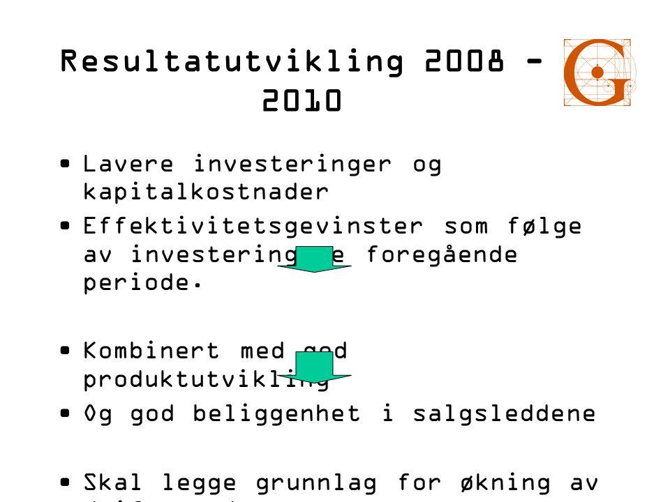 Resultatutvikling 2008 - 2010 •Lavere investeringer og kapitalkostnader •Effektivitetsgevinster som følge av investeringene foregående periode. •Kombi