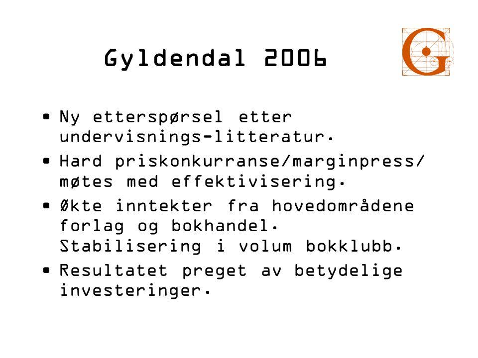 Gyldendal 2006 •Ny etterspørsel etter undervisnings-litteratur. •Hard priskonkurranse/marginpress/ møtes med effektivisering. •Økte inntekter fra hove