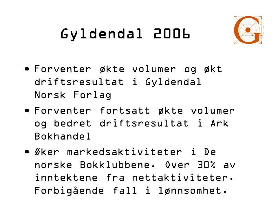 Gyldendal 2006 •Forventer økte volumer og økt driftsresultat i Gyldendal Norsk Forlag •Forventer fortsatt økte volumer og bedret driftsresultat i Ark