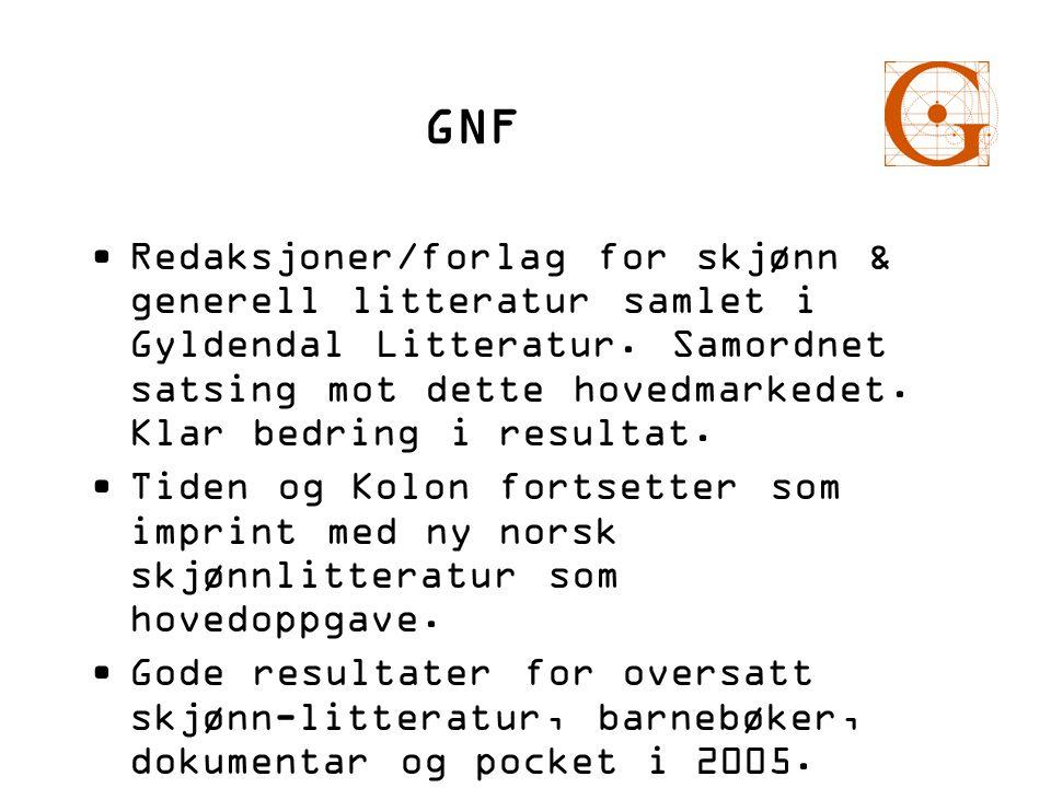GNF •Redaksjoner/forlag for skjønn & generell litteratur samlet i Gyldendal Litteratur. Samordnet satsing mot dette hovedmarkedet. Klar bedring i resu