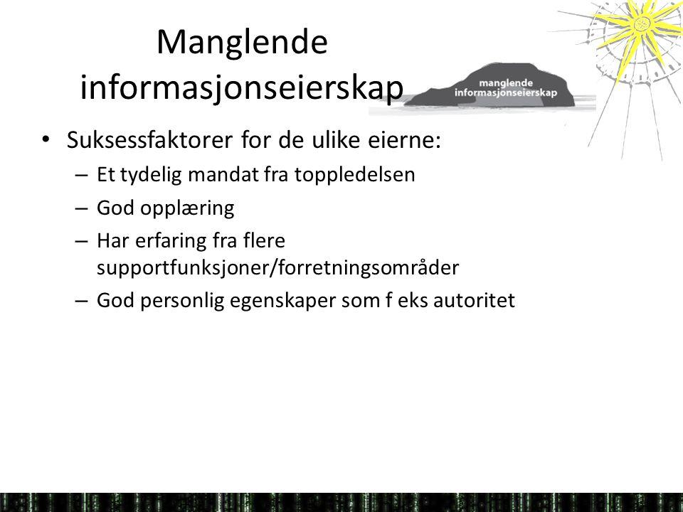 Manglende informasjonseierskap • Suksessfaktorer for de ulike eierne: – Et tydelig mandat fra toppledelsen – God opplæring – Har erfaring fra flere su
