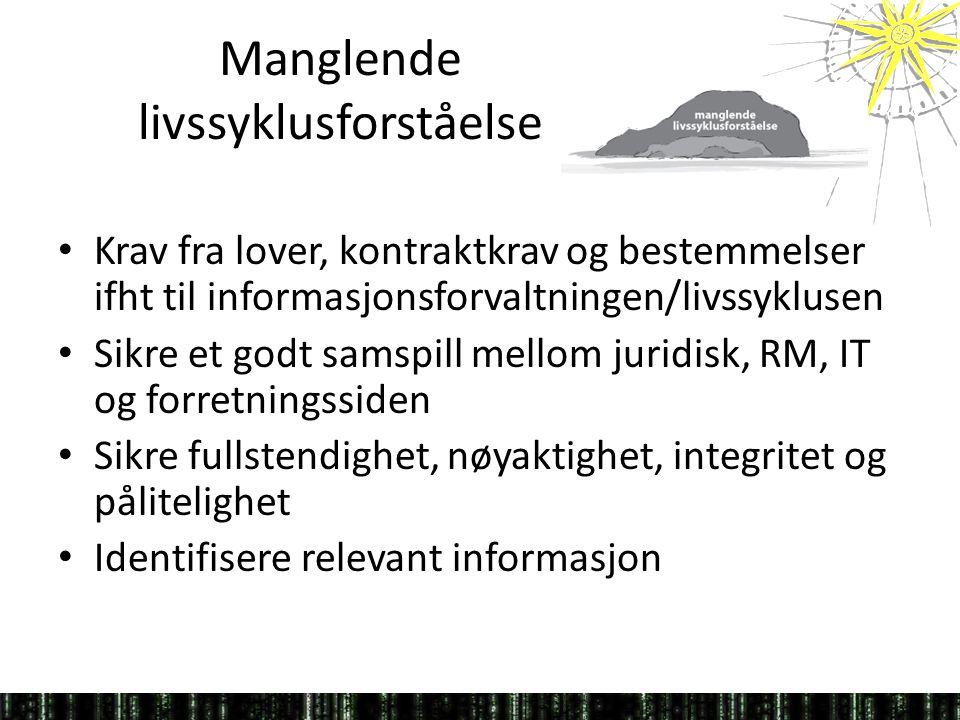 Manglende livssyklusforståelse • Krav fra lover, kontraktkrav og bestemmelser ifht til informasjonsforvaltningen/livssyklusen • Sikre et godt samspill