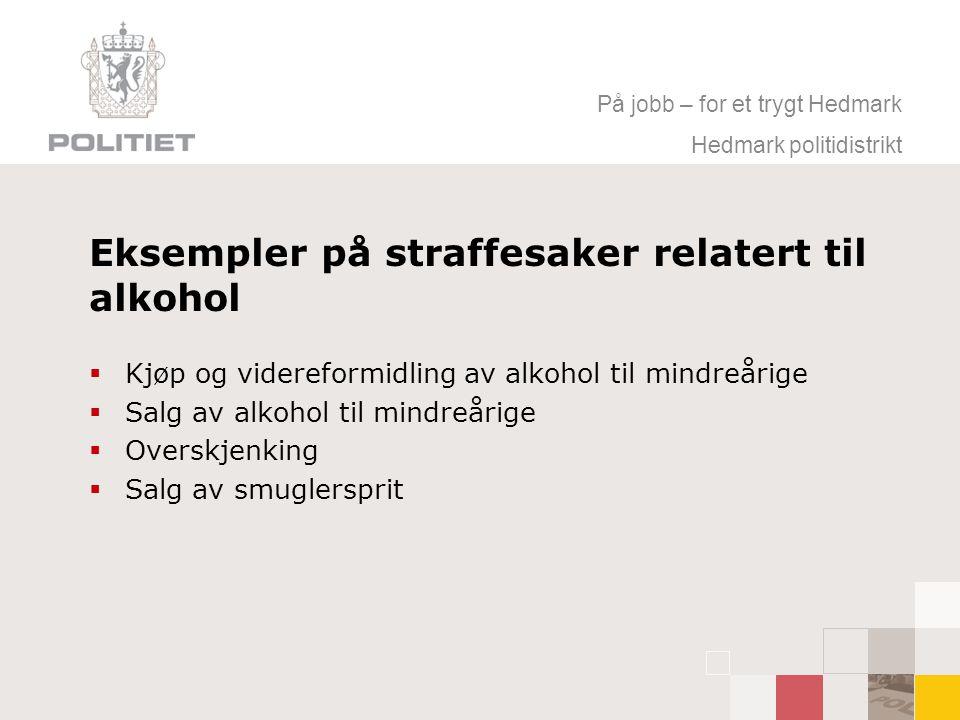 På jobb – for et trygt Hedmark Hedmark politidistrikt Eksempler på straffesaker relatert til alkohol  Kjøp og videreformidling av alkohol til mindreårige  Salg av alkohol til mindreårige  Overskjenking  Salg av smuglersprit