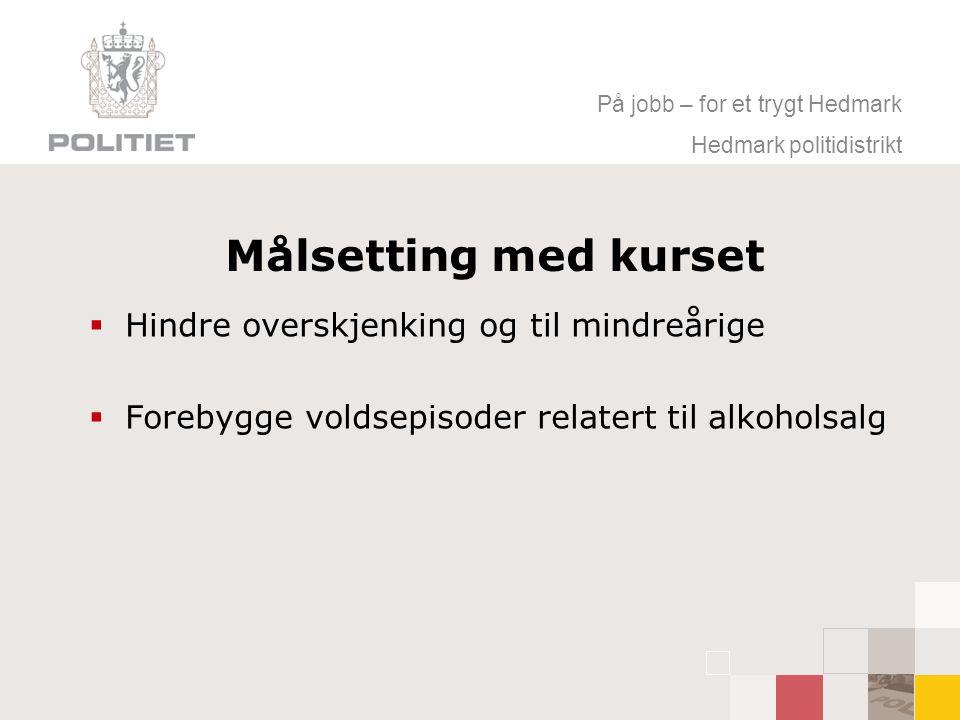 På jobb – for et trygt Hedmark Hedmark politidistrikt Målsetting med kurset  Hindre overskjenking og til mindreårige  Forebygge voldsepisoder relatert til alkoholsalg