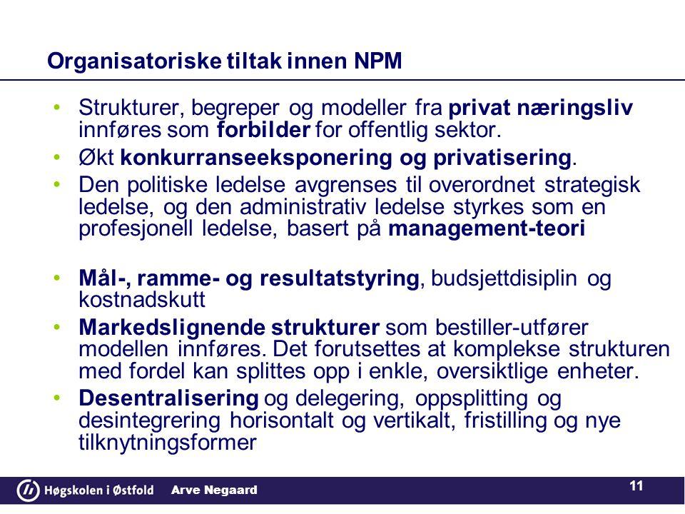 Arve Negaard 11 Organisatoriske tiltak innen NPM •Strukturer, begreper og modeller fra privat næringsliv innføres som forbilder for offentlig sektor.