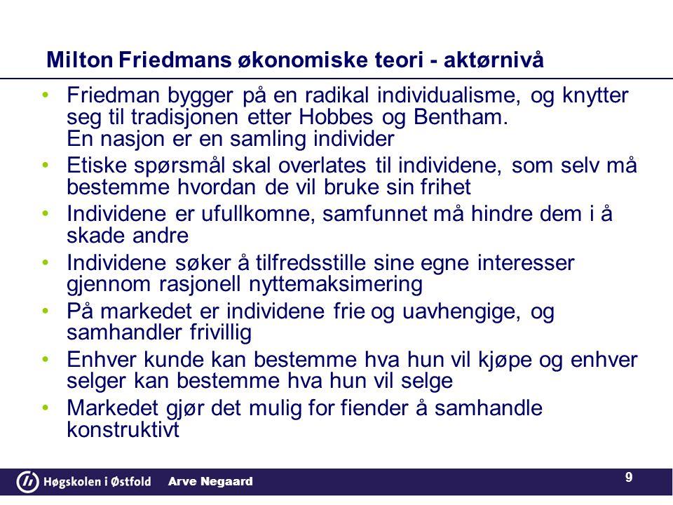 Arve Negaard 9 Milton Friedmans økonomiske teori - aktørnivå •Friedman bygger på en radikal individualisme, og knytter seg til tradisjonen etter Hobbes og Bentham.