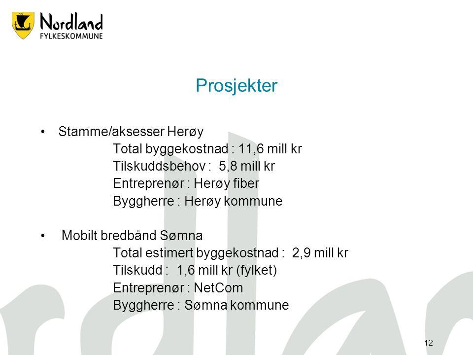 11 Prosjekter •Stamfiber m.aksesser Leknes – Å i Lofoten fase 1 og 2 Total byggekostnad : 44,2 mill kr Tilskuddsbehov : 22,1 mill kr Entreprenør : Lof