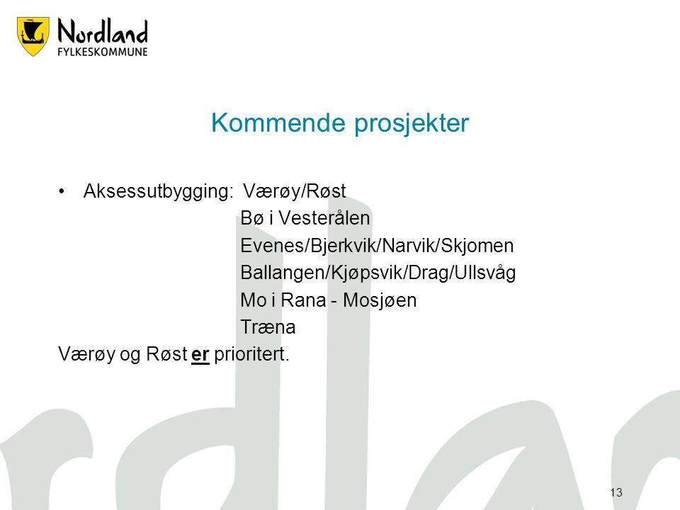 12 Prosjekter •Stamme/aksesser Herøy Total byggekostnad : 11,6 mill kr Tilskuddsbehov : 5,8 mill kr Entreprenør : Herøy fiber Byggherre : Herøy kommun