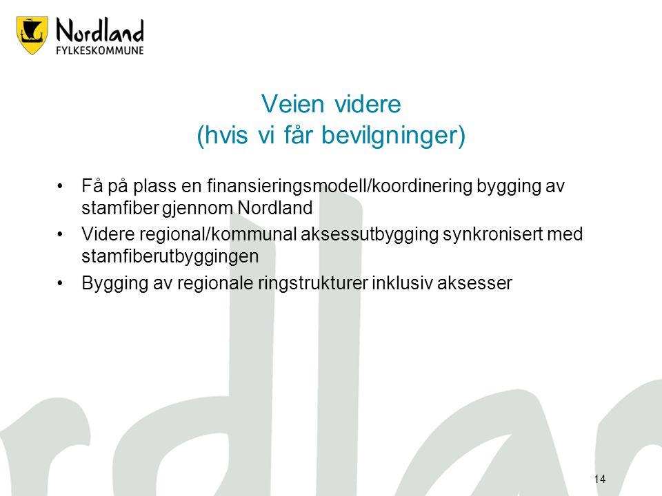 13 Kommende prosjekter •Aksessutbygging: Værøy/Røst Bø i Vesterålen Evenes/Bjerkvik/Narvik/Skjomen Ballangen/Kjøpsvik/Drag/Ullsvåg Mo i Rana - Mosjøen